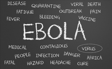 Ebola word cloud written on a chalkboard photo