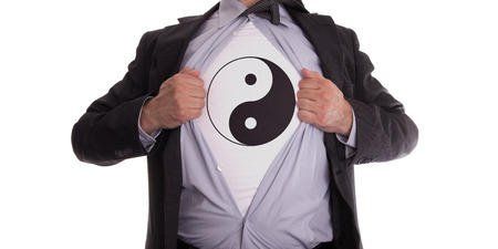 yang ying: Businessman rips open his shirt to show his yin and yang t-shirt