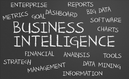 Business Intelligence word cloud written on a chalkboard photo