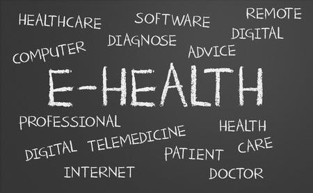 E-health word cloud written on a chalkboard Stock Photo
