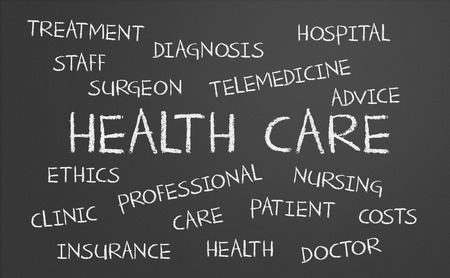 Health Care word cloud written on a chalkboard photo