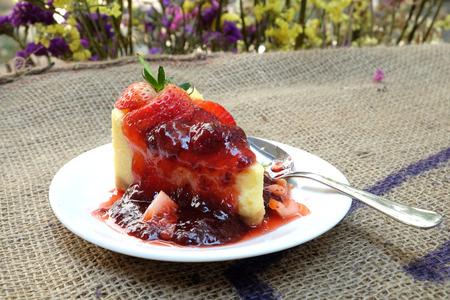 gunny: strawberry Cheesecake on gunny sack background