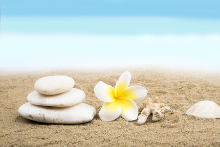 Zen and spa concept on the beach. Stack of white stone, plumeria flower, coral and shell on sand background