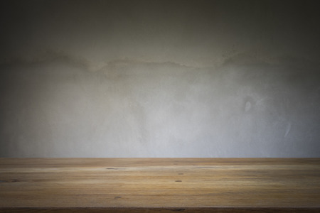 polished floor: Wooden table or floor platform and polished concrete surface background