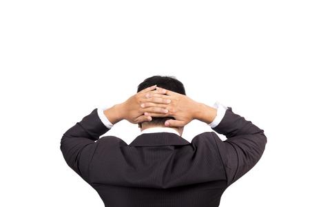 cansancio: empresario de la mano holdnig en la cabeza. la tala de cansancio, pensamiento, frustrado, que tiene tensión. Foto de archivo