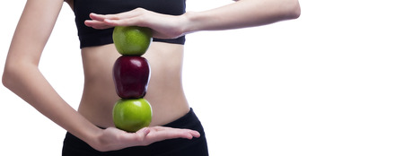 body curve: Good healthy body and curve waist and green and red apples