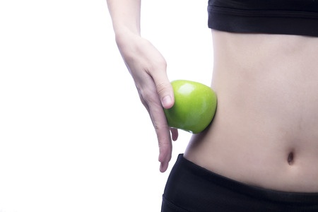 body curve: Good healthy body and curve waist and green apple