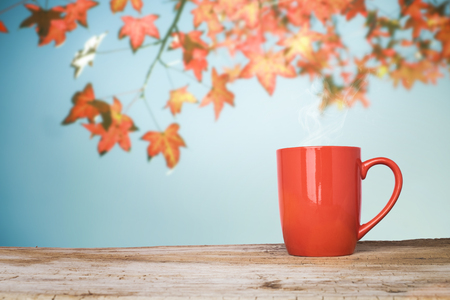 espesso: Red cup of coffee on wooden table or terrace and red maple leaves on blue sky background Stock Photo