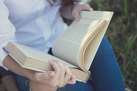 Reading a book. Education concept.