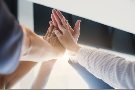 Hands of success startup business teamwork.Teamwork Togetherness Collaboration Concept Standard-Bild