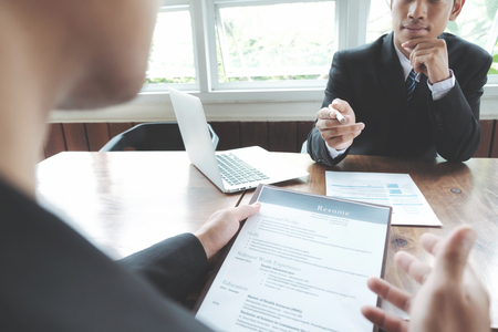 reviews: Business situation, job interview concept. Stock Photo