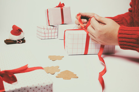 Prepare Christmas gift boxes with vintage effect color. Stock Photo