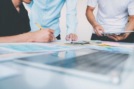 Business people and Designers brainstorming meeting team.
