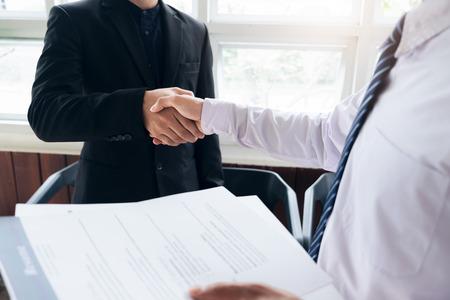 Job applicant having interview. Handshake success job interviewing