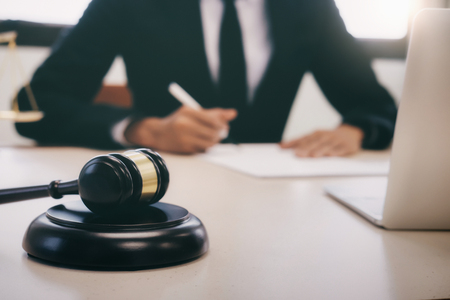 Concepts of law and legal. Lawyer or judge work in the office. Stock Photo