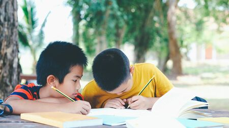 Back to school and education concept. Two boys of primary reading and doing homework together. Banco de Imagens