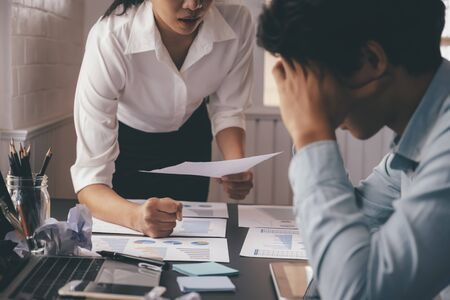 Business teamwork blaming partner and serious discussion. Colleagues argue about investment document  disagree having conflict at work. Bussiness people are serious meeting.