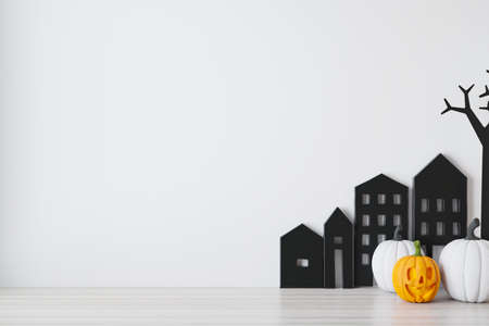 Happy halloween holiday concept. Halloween background with Jack O'Lantern and pumpkins