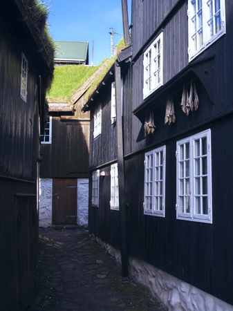 Picturesque black-tarred grass-roofed houses with dried fish hanging on hooks and narrow cobblestone street in Tórshavn, the Captivating Capital of the Faroe islands on Island Streymoy. Postcard motif.