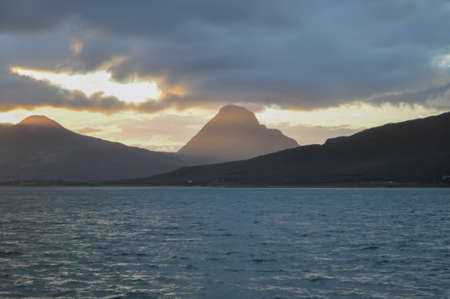 View to the sunset over Nesna peninsula and Tomma island from Nesna village