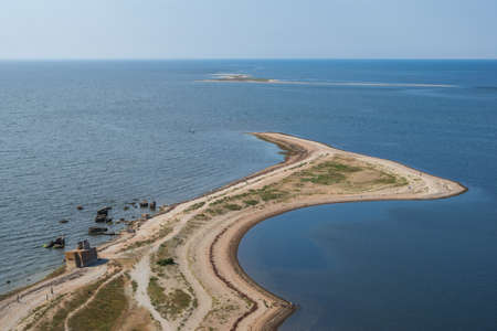 Aerial view to the Sõrve peninsula in Saaremaa island, Estonia on bright sunny day from top of the lighthouse. Focus on foreground