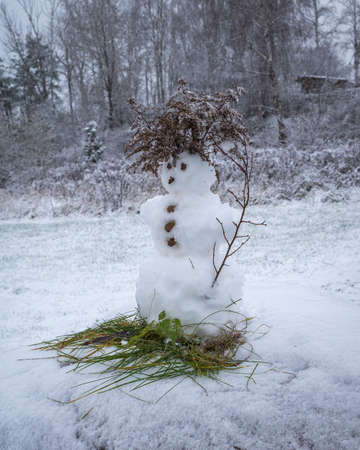 Small snowman decorated with green grass and dry grass in snowy and overcast weather in park Banco de Imagens