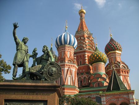 vasily: Cathedral of the Cover of Vasily Blissful the Spassky tower. Stock Photo