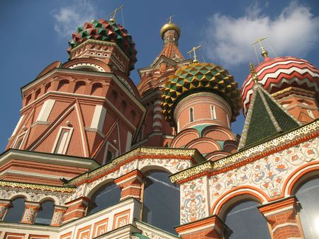 spassky: Cathedral of the Cover of Vasily Blissful the Spassky tower. Stock Photo