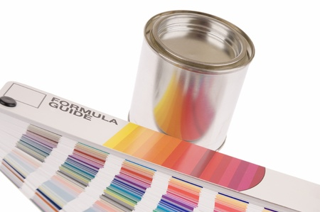 a color formula guide and a blank paint can