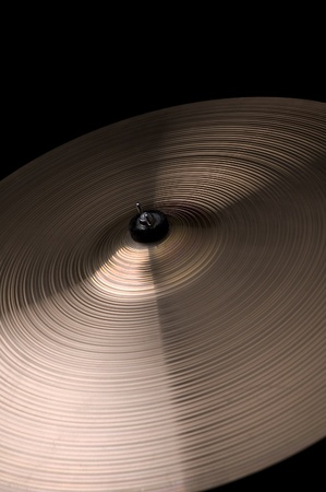 drum kit: A cymbal on a black background Stock Photo