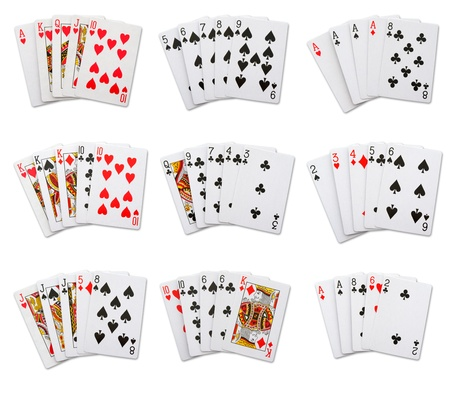 pokers: A set of 9 pokers hands