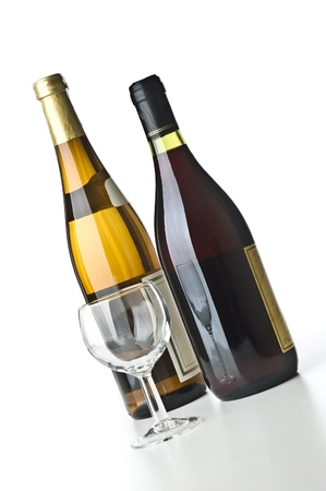 Two wine bottles and a glass Stock Photo
