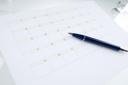空白のカレンダーの予定