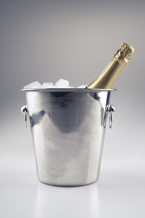 A bottle of champagne in a icebucket Stock Photo