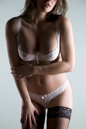 Beautiful woman in white lingerie Stock Photo - 10304503