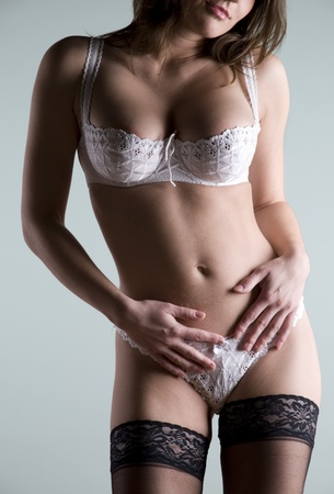 Beautiful woman in white lingerie Stock Photo - 10276005