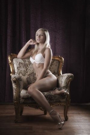 Blond beauty in white lingerie photo