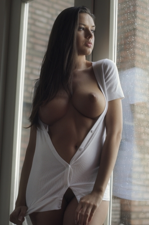 Beautiful brunette posing nude in front of window