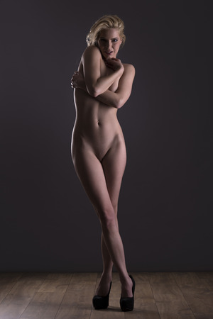 fine art nude: Beautiful nude blond female posing form and expression Stock Photo