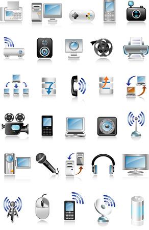 los iconos azules los medios de comunicación