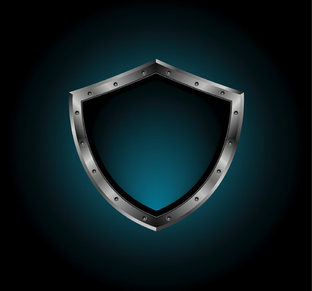 metal shield with bolts Vector