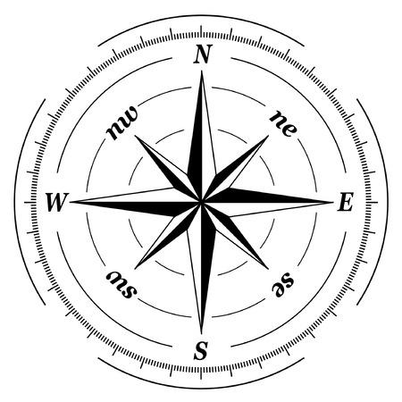latitude: black and white compass