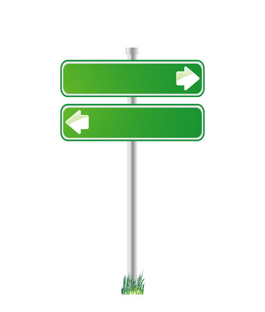 directions: Green sign for direction Illustration