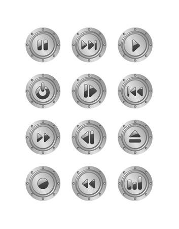 metal music buttons set 2 Stock Vector - 5610349