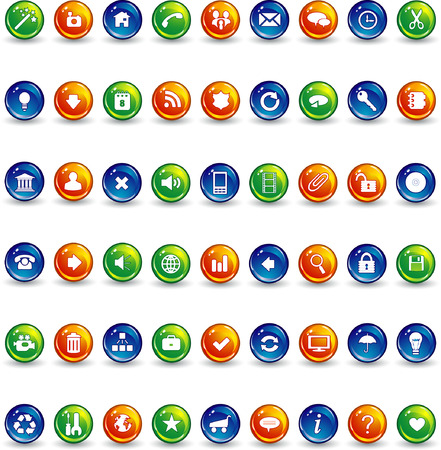 orange blue and green button icons Stock Vector - 5610378