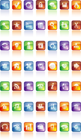 buttons with icons Stock Vector - 5610397