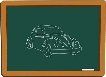 blackboard whit car Stock Vector - 5610334
