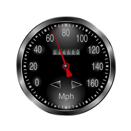 rotations: metal speedometer Illustration