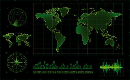 radars: Vector radar screen Illustration