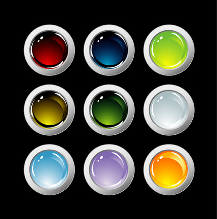 web buttons isolated on black Stock Vector - 5610300
